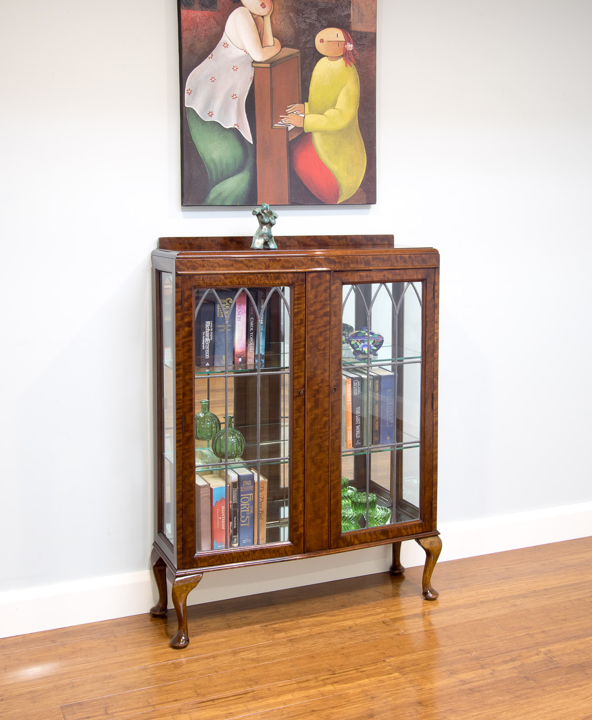 6052 Antique Style Vintage Leadlight Glass Display Cabinet